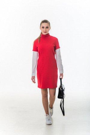 Платье красное-лапша