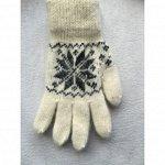 Перчатки женские Белые с черным рисунком