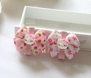 """Зажим для волос """"Китти"""" розовый с цветочками"""