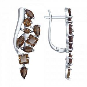 Серёжки серебряные с  раухтопазом.