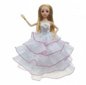 Платье с капроновыми рюшами белое