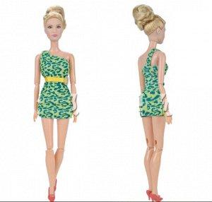 Платье леопардовое зеленое