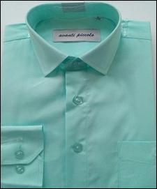 Рубашка Рубашка для мальчика ,  длинный рукав, ткань сорочечная; хлопок 55%, полиэстер 45%.  Цвет: Ментол. Классическая рубашка прямого силуэта, с отложным воротником, застёжкой на пуговицы и длинными