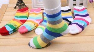 """Махровые носочки в полоску разноцветные """"в рубчик"""""""