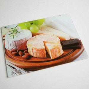 """RD0040-ST Доска разделочная стеклянная """"Сыр"""" 40*30 см (12)"""