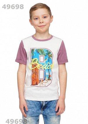 """Джемпер СТАРАЯ ЦЕНА 350 Цвет: коричневый """"Описание:  Современная футболка из пластичного флама с удлиненной спинкой. Рукав закрученный по низу. Горловинас обтачкой. Впереди большой тематический принт."""