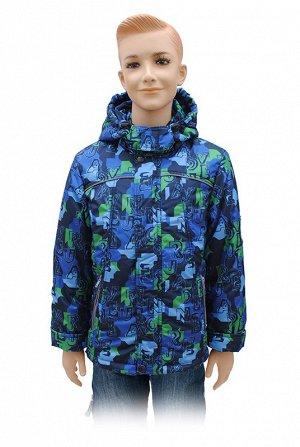Осень Куртка для мальчика А 164-15 принт;54;Синий.Ткань верх: дьюспа принтованная-100% ПЭ,,Подкладка: трикотаж-100%ХБ, капрон-100%ПЭ.,,Утеплитель: теплофил- 150 гр/м -100%ПЭ.