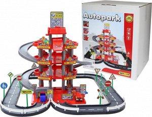 Паркинг 4-уровневый с дорогой и автомобилями (красный) (в коробке)