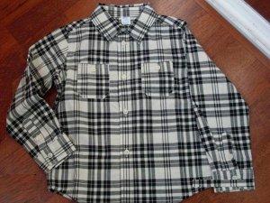 Рубашка в клетку с длинными рукавами черная с молочным