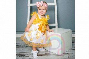 Платье Цвет: белый+желтый