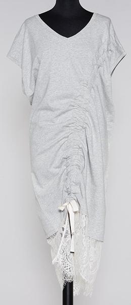 Платье ТвинСет. ХБ серый меланж + кружево крем.