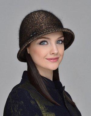 Комплект Шапка-Шляпка+ шарф снуд Цвет черный+бронза