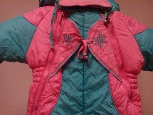 Комбинезон зимний с отстегивающейся подкладкой бирюзово-розовый