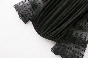 Кофточка с клеш-рукавом и кружевом, черный цвет