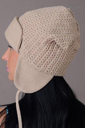 Вязаная шапка-ушанка цвет земляника