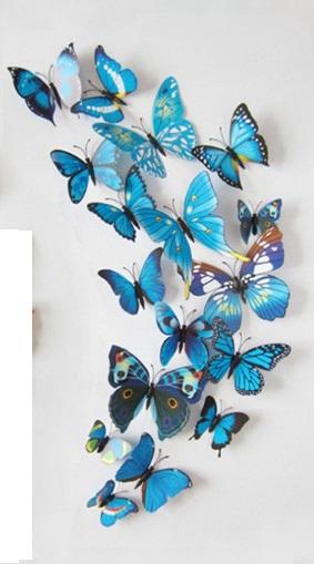 набор бабочек 3D голубой
