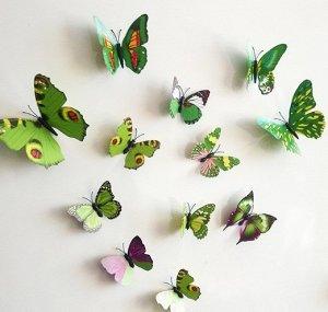 Набор бабочек 3D зеленый
