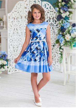 Нарядное платье для девочек из шикарной атласной ткани
