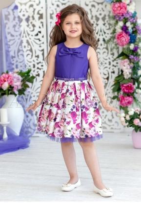 Нарядное платье, комбинированное лифом из однотонной ткани  и юбки с цветочным  принтом