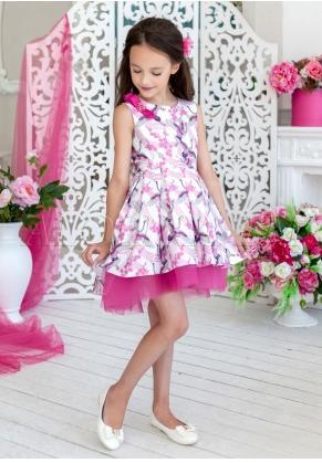 """Нарядное платье из атласа с принтом """"журавли"""""""