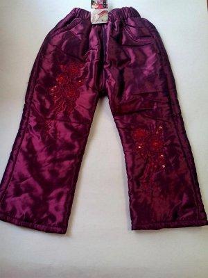 Утепленные брюки с цветочками из пайеток фиолетовые
