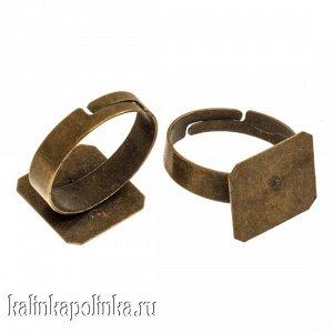 Основа для кольца с площадкой 14х14мм, р-р 19х19мм, р-р регулируется, ОПТ Основа для кольца с площадкой 14х14мм, р-р 19х19мм, р-р регулируется