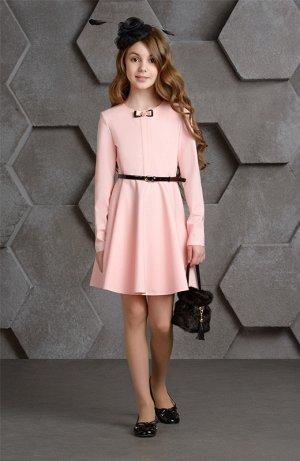 платье розовое, приятное к телу,с ремешком, супер платье, можно в школу!  stillini