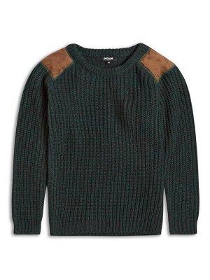 Sweater117 Вязаный свитер для мальчика. Нашивки под замшу на плечах