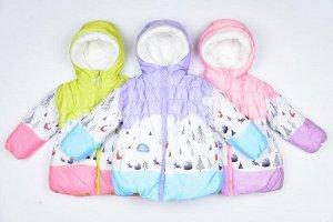 куртка Куртка удлиненная, демисезонная для девочки : плащёвка, утеплитель холлофайбер, подкладка флис . Рост 80, 86, 92, 98, 104 см .