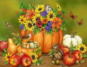 Картина по номерам Осенняя ярмарка Холст 40x50 см на деревянном подрамнике/ | Живопись по номерам