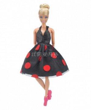 Платье черное в красный горох