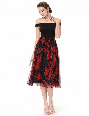Черно-красное платье с лёгкой шифоновой юбкой