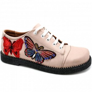 Ботинки пудрового цвета с вышивкой