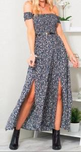 Платье-макси с разрезами короткий рукав (БЕЗ ПОЯСА) цвет: СИНИЙ