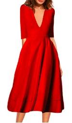Длинное платье с V-образным вырезом цвет: КРАСНЫЙ