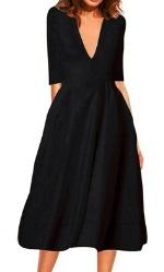 Длинное платье с V-образным вырезом цвет: ЧЕРНЫЙ