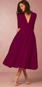 Длинное платье с V-образным вырезом цвет: БОРДО