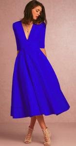 Длинное платье с V-образным вырезом цвет: СИНИЙ