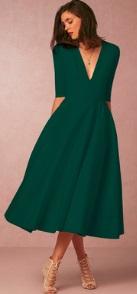 Длинное платье с V-образным вырезом цвет: ТЕМНО-ЗЕЛЕНЫЙ