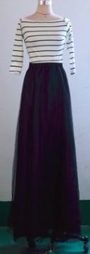 Платье-макси с рукавом 3/4 цвет: ЧЕРНЫЙ С БЕЛЫМ