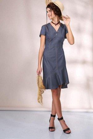 Платье Платье Golden Valley 4364 светло-синее  Состав ткани: Вискоза-33%; ПЭ-64%; Эластан-3%;  Рост: 170 см.  Платье без воротника, с фигурным вырезом горловины, с отрезной планкой горловины, с двумя