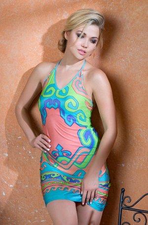 платье Эффектное короткое пляжное платье из эластичного трикотажа с оригинальным принтом. Бретели завязываются на шеи. За счет перемычки на спинке пройма и спинка плотно прилегают к телу. Складка на с