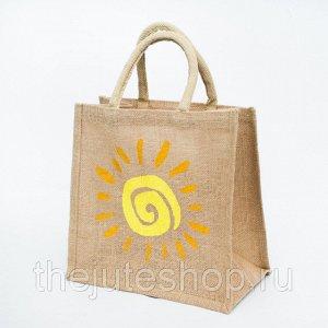 """Джутовая сумка маленькая 30х30х18см, """"Солнце-1"""" (9038177414857)"""