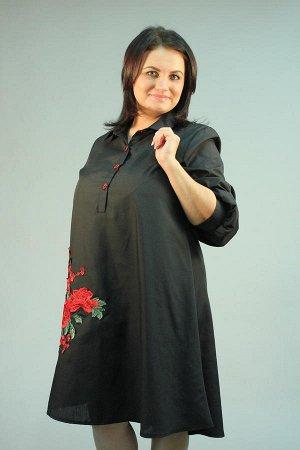 """Туника Туника; Материал: Бенгалин Туника черная с вышивкой """"Роза""""; Длина изделия 50 размера по спинке - 100 см. В каждом следующем размере длина увеличивается на 1 см."""