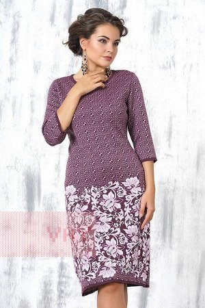 Платье женское, мягкое, теплое трикотажное. Цвет: слива/т.лиловый/белый