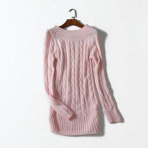 свитер вязка удлиненный розовый