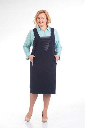Костюм Костюм Pretty 604 синий/бирюза  Рост: 164 см.  Оригинальный комплект из сарафана и блузки выглядит деловито и нарядно одновременно. Блуза цельновыкроена с рукавами, воротник сорочечного типа с