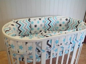 Комплект синего цвета с рисунком в круглую и овальную кроватку для мальчика