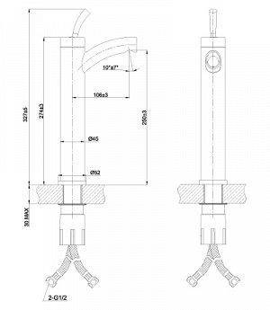 """LM5109S """"Элемент"""" Смеситель для умывальника высокий монолитный, сталь"""