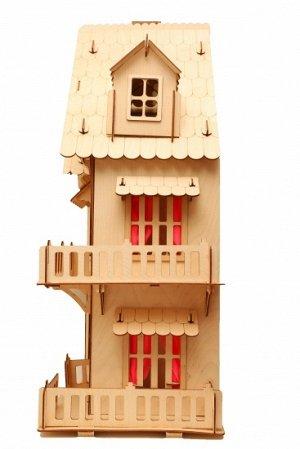 Дом Материал: березовая фанера Высота каждого этажа: 21 см. Толщина стен: 3 мм.Размеры 76х45х29 см.